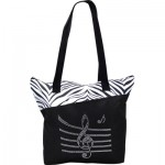 BLING TOTE BAG MUSIC STAFF - ZEBRA